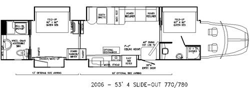 Original RV floor plan with Jiffy beds now remodeled to bunk stacks
